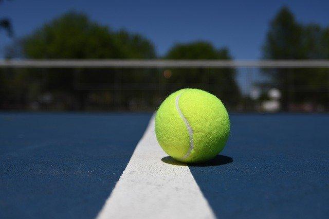 Federball und im Hintergrund zwei spielende Sportler